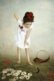 女孩和老鼠 免版税库存照片