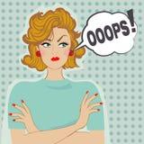 女孩和讲话泡影OOOPS! 免版税库存照片