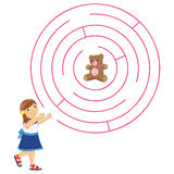女孩和迷宫传染媒介例证 库存图片