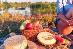 女孩和野餐篮子 免版税库存照片