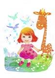 女孩和长颈鹿 免版税库存照片