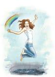 女孩和雨 五颜六色的例证 拉长的例证 可以 春天 免版税库存照片
