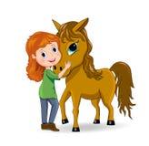 女孩和马 免版税库存图片