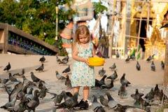 女孩和鸟 免版税图库摄影