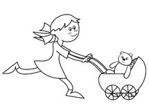 女孩和婴儿推车-着色 库存图片