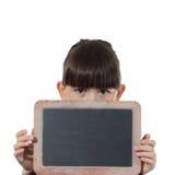 女孩和黑板 免版税库存图片