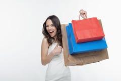 女孩和购物 免版税图库摄影