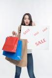 女孩和购物 免版税库存照片