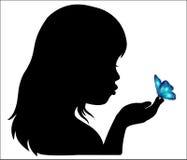 女孩和蝴蝶 向量例证