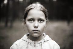 女孩哀伤少许的纵向 免版税图库摄影