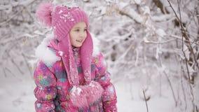 女孩哀伤的一点 两个姐妹在冬天森林里互相寻找和愉快 股票录像