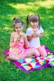 女孩哄骗戏弄姐妹的朋友吃冰淇凌 免版税库存照片