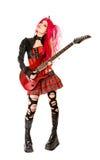 女孩哥特式吉他 免版税图库摄影