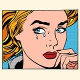女孩哭泣的妇女面孔 向量例证