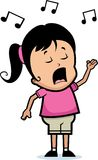 女孩唱歌 免版税库存照片