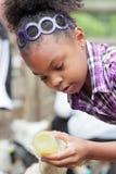 女孩喂养与瓶的小山羊 免版税库存图片
