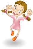 女孩喜悦跳的年轻人 免版税库存照片