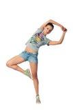 女孩喜悦跳 免版税图库摄影