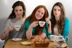 女孩喝茶 库存图片