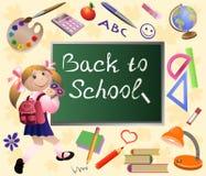 女孩回到学校。 免版税库存图片
