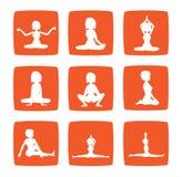 女孩图标实践集合瑜伽的九个姿势 免版税图库摄影