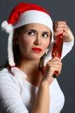 女孩圣诞老人想知道 库存图片