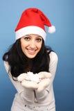 女孩圣诞老人雪 图库摄影