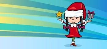 女孩圣诞老人贺卡 库存图片