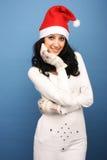 女孩圣诞老人 库存照片