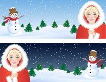 女孩圣诞老人 免版税图库摄影
