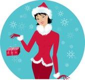 女孩圣诞老人 库存例证