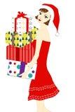 女孩圣诞老人 图库摄影