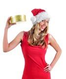 女孩圣诞老人 免版税库存图片