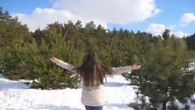 女孩在一个多雪的森林的背景站立并且举她的胳膊 妇女享受冬天风景和自由 后方 影视素材