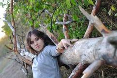 女孩在一个干燥结构树的树干倾斜了手肘 免版税库存图片