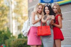 女孩在一个手机的景色照片 免版税库存图片