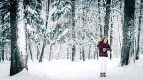 女孩在一个褐红的毛线衣和白色裤子立场穿戴了反对树干反对积雪的冬天背景  库存照片