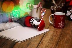 女孩在一张纸写笔圣诞节愿望 库存图片