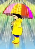 女孩在伞下 库存照片