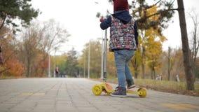 女孩在公园在滑行车和乘驾得到 股票录像