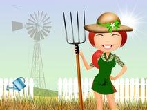 女孩在农场 免版税库存图片