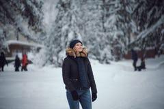 女孩在冬天森林走 免版税库存图片