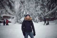 女孩在冬天森林走 库存图片