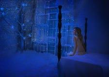 女孩在圣诞夜醒了,并且在她的屋子里被转动的奇迹,魔术把她变成一位神仙的公主 免版税库存照片