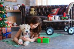 女孩在地板上说谎在拥抱狗,微笑和摆在为的格子花呢披肩 免版税库存照片