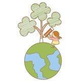 女孩在地球上的图画结构树 库存照片