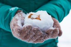女孩在她的手上拿着一个雪球,说谎桦树 库存图片
