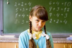 女孩在学校 库存图片