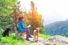 女孩在山的一条长凳读一本书在陪同下 免版税图库摄影