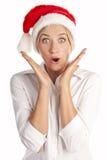 女孩在工作室新年度,空白 免版税库存照片